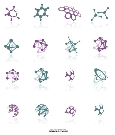 molecule abstract: Color molecule icons set  with shadow, isolated on white background, vector Illustration Illustration