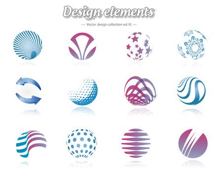 esfera: Elementos de design cor definida, isolado, ilustração do vetor
