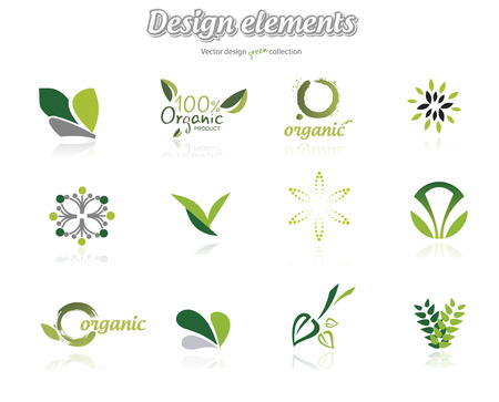Collection of green ecological icons, illustration isolated on white background Vettoriali