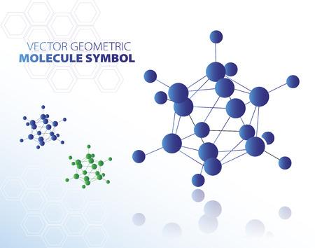 molecule symbol: Blue molecule symbol isolated on white background, vector illustration Illustration