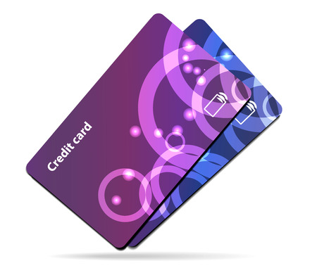 debt collection: Credit card illustration on white background with shadow