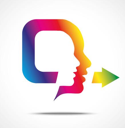 flexible business: Symbol of colorful speaking head illustration, isolated on white Illustration