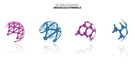 컬러 분자 아이콘 그림자, 흰색 배경, 벡터 일러스트를 격리로 설정 그림 일러스트