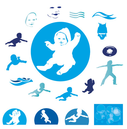 infant bathing: Silhouette of swimming babies, isolated on white, illustration