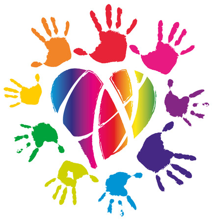 Colored hands around neon heard, vector illustration, isolated Vettoriali