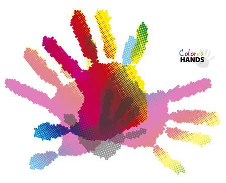 Colored halftone hands, imprint on white background, illustration, team concept Vector