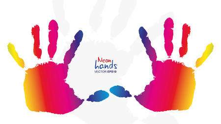 Detail imprint of colored hands, vector illustration on white background