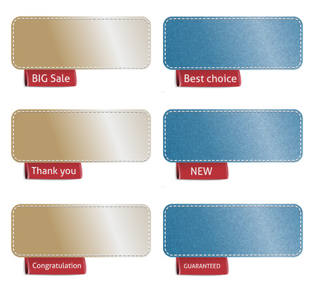 Set of color labels with red tags, vector illustration Vector