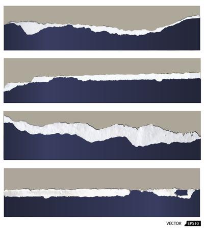Collection of torn paper, vector illustration Иллюстрация
