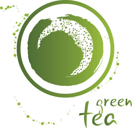 instant coffee: Vector icon of green tea cup Illustration