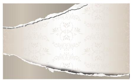 textil: Torn paper with decoration background, illustration