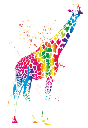 Colorful silhuette of giraffe, illustration isolated on white background illustration