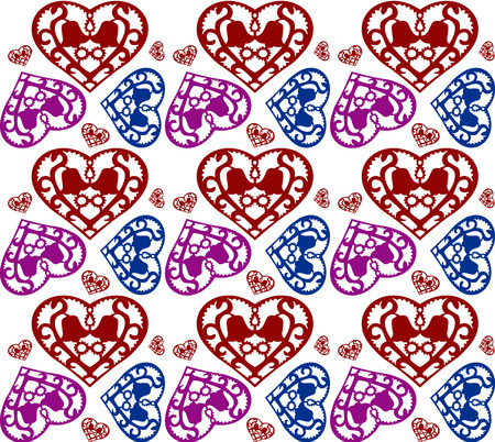 colorful heart: Colorful heart pattern background on white