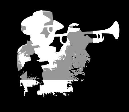 fanfare: Jazz trumpet musician silhouette on black background