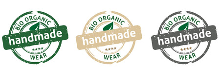 od: Collection od handmade bio organic wear labels, isolated on white, vector illustration