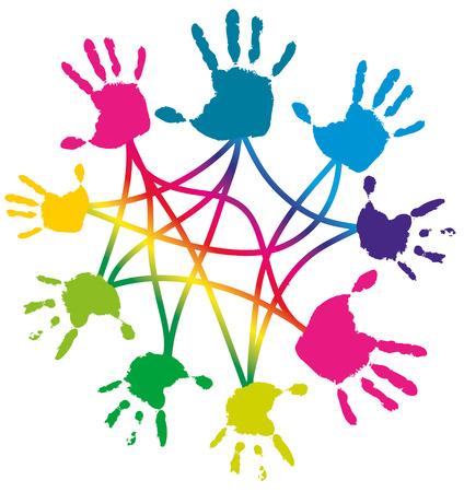 amicizia: Business concetto - la cooperazione, frientship, assistenza, lavoro di squadra, illustrazione isolato su bianco Vettoriali