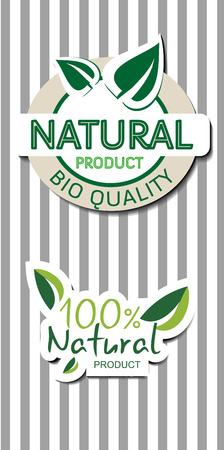 quality product: Two natural  bio quality product labels with shadow, striped background, vector illustration