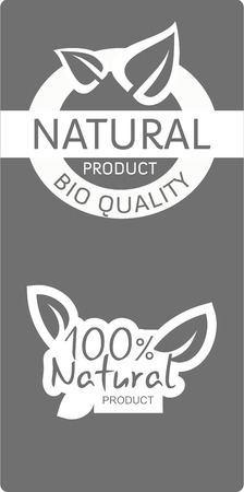 Two natural  bio quality product labels, white on grey background, vector illustration Vector