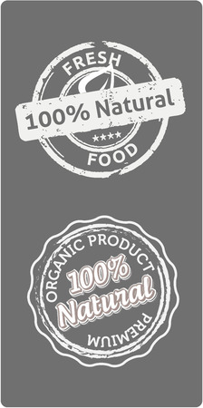 quality product: Two natural  bio quality product labels, white on grey background, vector illustration