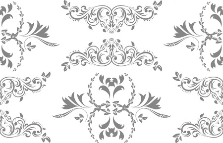 Floral seamless decoration pattern, illustration isolated on white