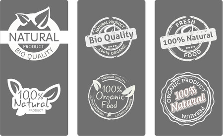 quality product: Set of natural  bio quality product labels, white on grey background, vector illustration Illustration