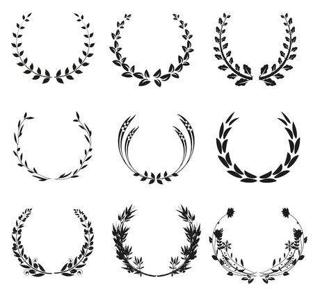 black wreath: Collection of black wreath illustration, isolated on white background
