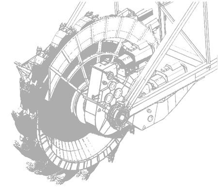mine site: Bucket wheel excavator, illustration isolated on white background