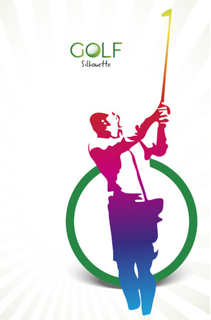 Colorful golf silhouette isolated on white  イラスト・ベクター素材