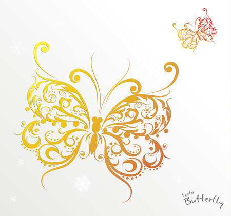 nature silhouette: Colorful ornamental butterfly, illustration isolated on white background Illustration