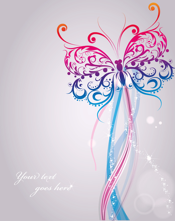 wedding love: Nice celebration card with white flying butterfly with sample text, illustration