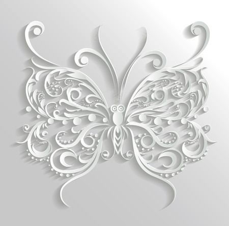 butterfly isolated: Vector ornamental butterfly, illustration isolated on grey background