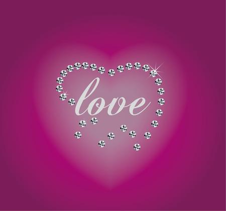 heart diamond: Heart diamond illustration isolated on red background with text Illustration