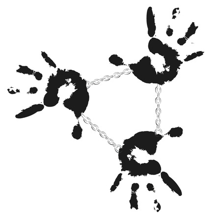 detail: Detail imprint of black hands tied with chain, illustration on white background