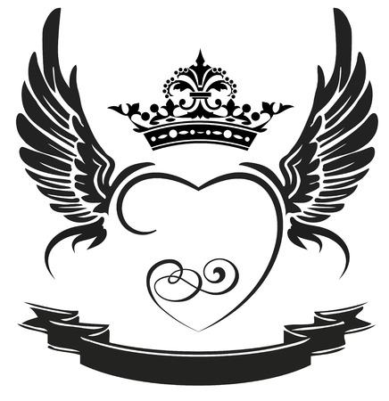 흰색에 고립 된 검은 날개, 리본, 하트, 왕관, 일러스트