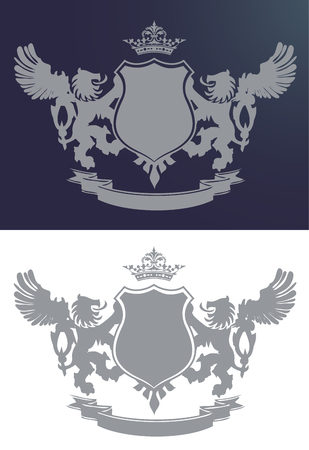 crown wings: Royal crest with two lions and wings, crown and badge, illustration isolated on white and blue