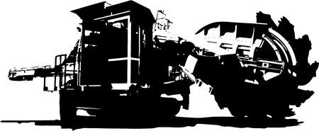 Bucket wheel excavator silhouette illustration, isolated on white background Ilustração