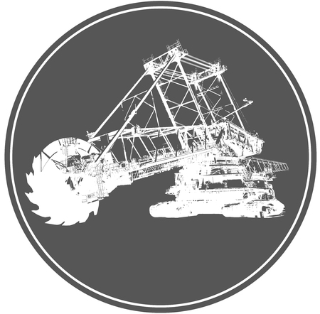 quarry: Bucket wheel excavator silhouette illustration, isolated on white background Illustration