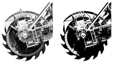 quarry: Detail of bucket wheel excavator silhouette illustration, isolated on white background