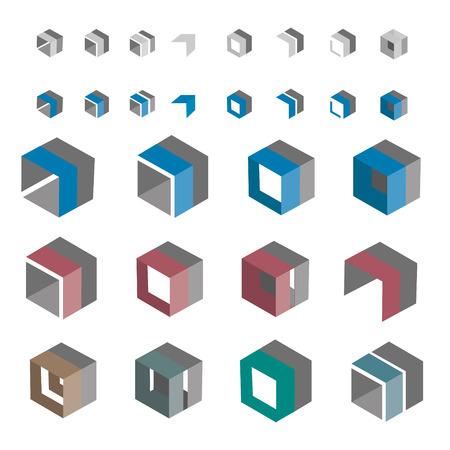 boxy: Color design set of cube shapes