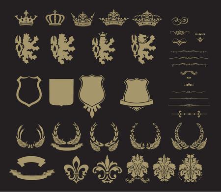 heraldic symbols: Collection of gold heraldic symbols, illustration isolated on black background