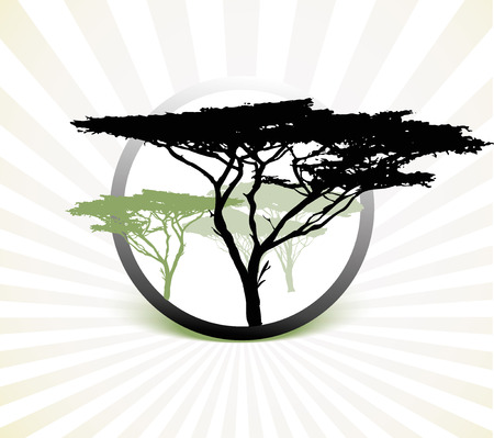 africa tree: Silhouette of africa tree, illustration on white striped background