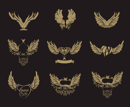 grunge wings: Collection of golden grunge wings isolated on black, tattoo, vector