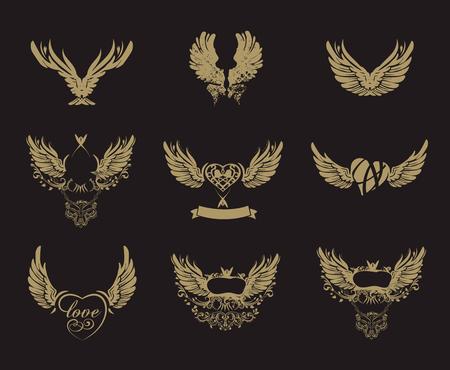 Sammlung von goldenen Schmutzflügel isoliert auf schwarz, Tätowierung, Vektor