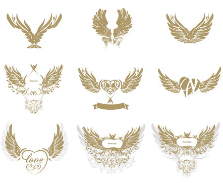 heart with wings: Collection of golden grunge wings isolated on white, tattoo, vector Illustration