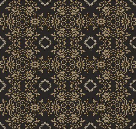 black fabric: Repeated seamless geometrical leaf pattern on black, fabric style, illustration