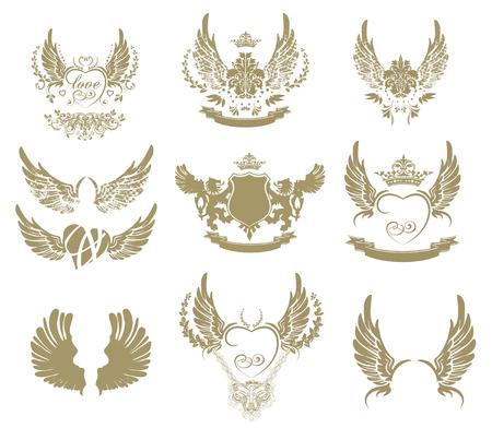 Ensemble de symboles de tatouage d'or, ailes isolé sur fond blanc
