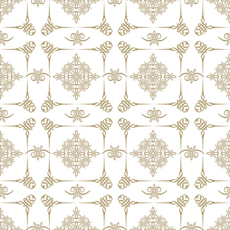 Nice gold repeated seamless geometrical pattern on white