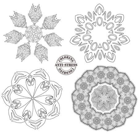 Anti-stress coloring, black shape geometric elements on white background