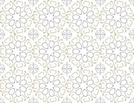 좋은 금 반복 원활한 플로랄 패턴에 흰색, 패브릭 스타일, 그림