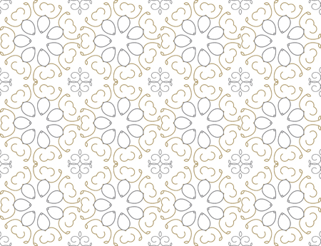 Nice gold repeated seamless floral pattern on white, fabric style, illustration